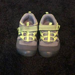 Oshkosh Little Boy Shoes, Grey and Neon Yellow